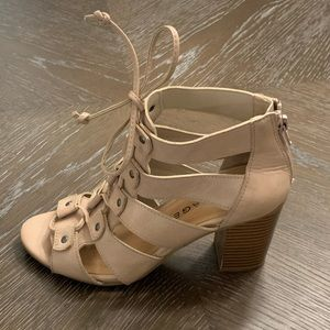 Tan leather strappy lace up heels